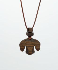 Dackel Anhänger aus Holz Anhänger Brosche Dackel - Kopf mit Perlen aus Nussholz und verstellbaren Lederband
