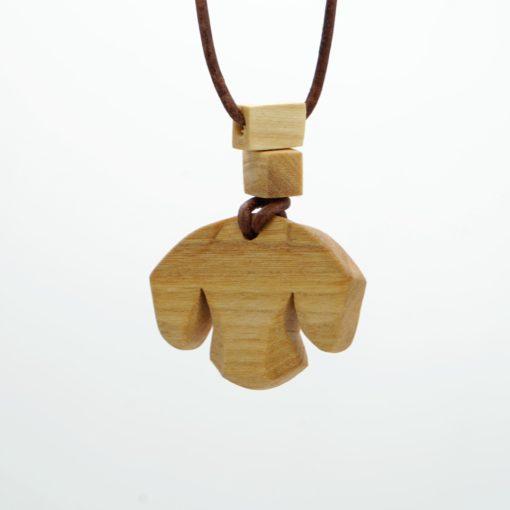Dackel Anhänger aus Holz Anhänger Dackel-Kopf Ahornholz mit verstellbaren Lederband